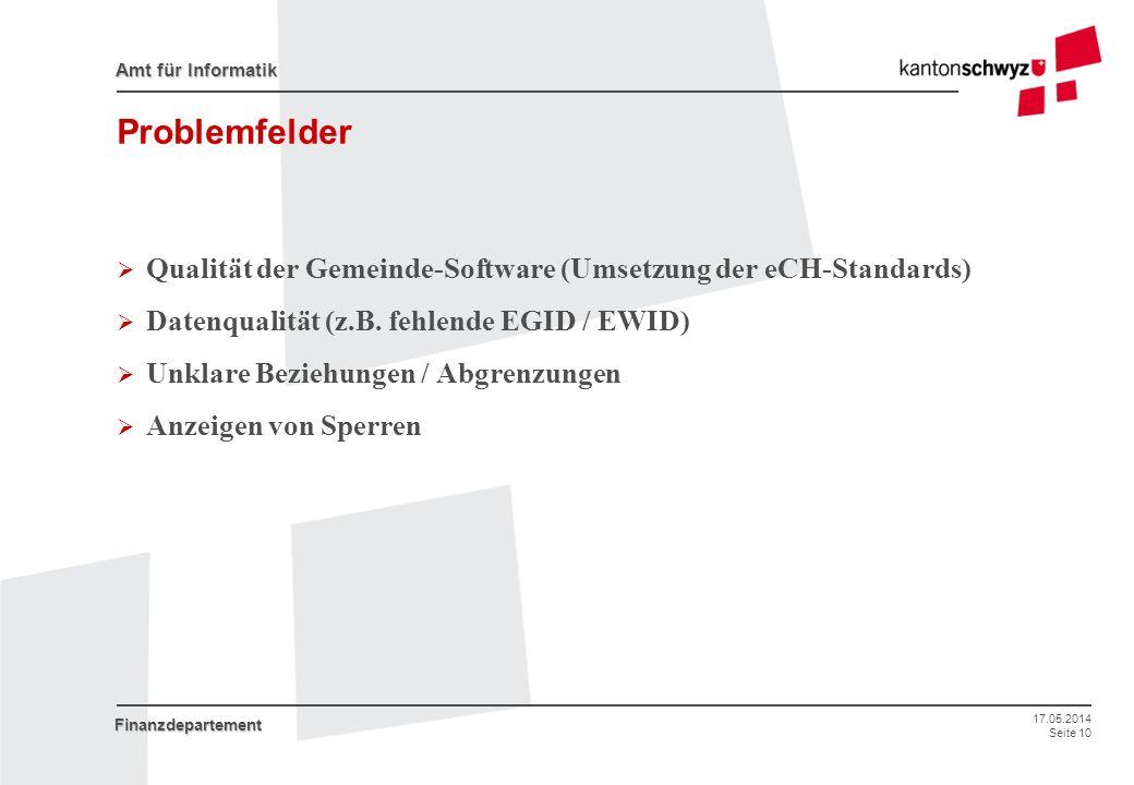 Problemfelder Qualität der Gemeinde-Software (Umsetzung der eCH-Standards) Datenqualität (z.B. fehlende EGID / EWID)