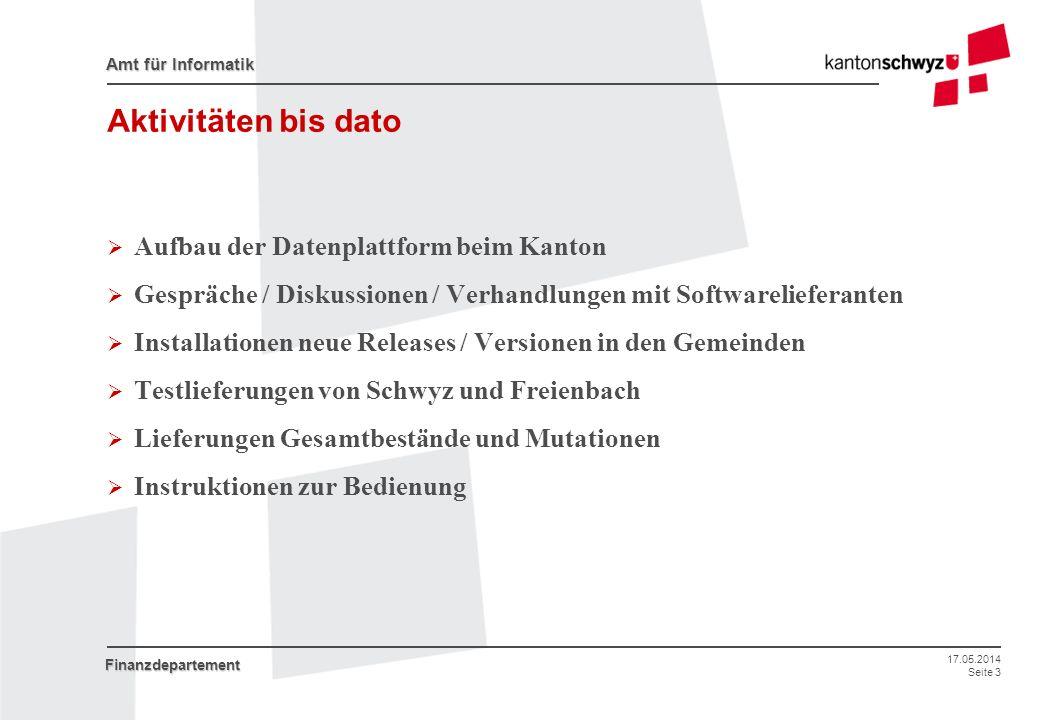 Aktivitäten bis dato Aufbau der Datenplattform beim Kanton
