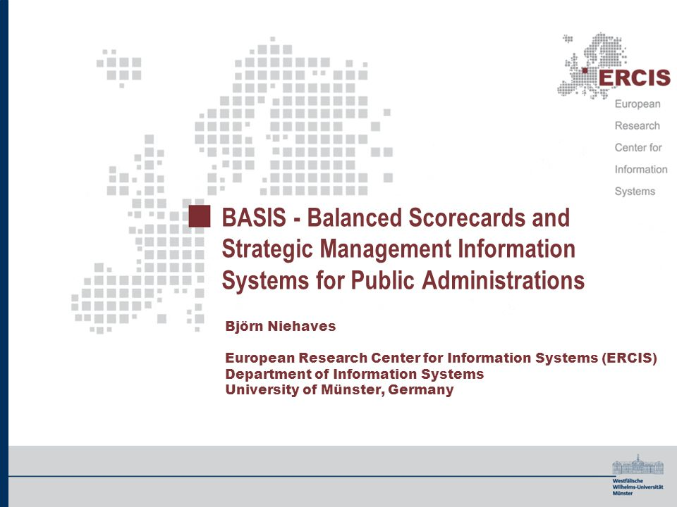BASIS - Balanced Scorecards and Strategic Management Information Systems for Public Administrations