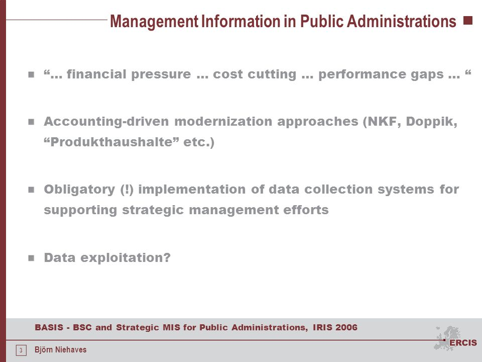 Management Information in Public Administrations