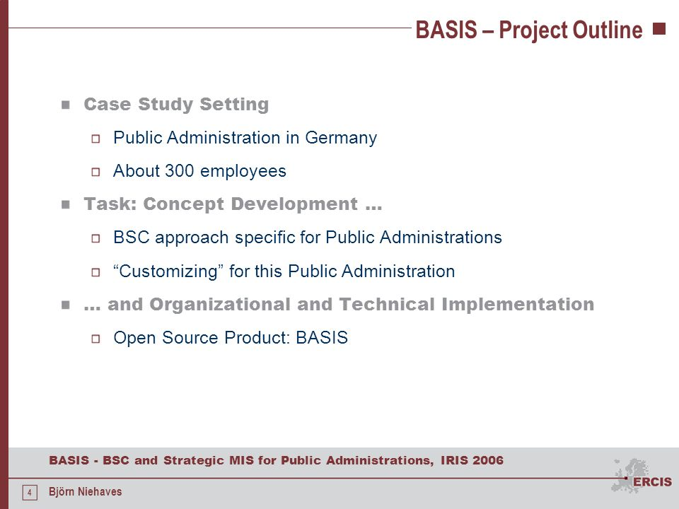 BASIS – Project Outline