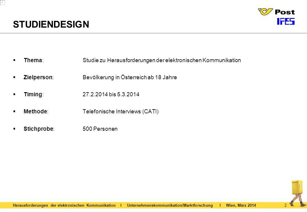 STUDIENDESIGN Thema: Studie zu Herausforderungen der elektronischen Kommunikation. Zielperson: Bevölkerung in Österreich ab 18 Jahre.