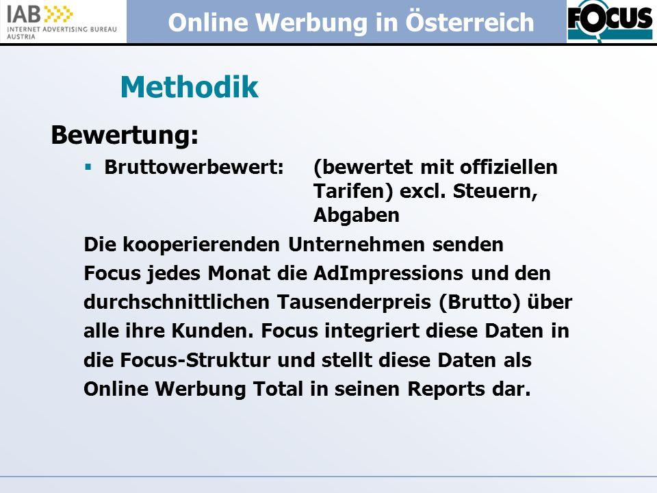 Methodik Bewertung: Bruttowerbewert: (bewertet mit offiziellen Tarifen) excl. Steuern, Abgaben.