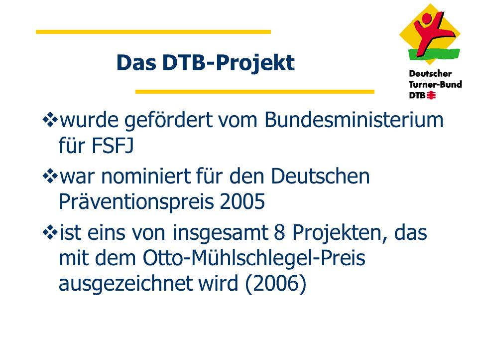 Das DTB-Projekt wurde gefördert vom Bundesministerium für FSFJ. war nominiert für den Deutschen Präventionspreis 2005.
