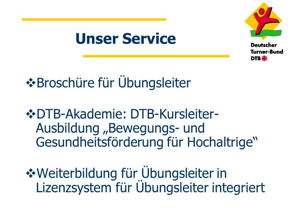 Unser Service Broschüre für Übungsleiter
