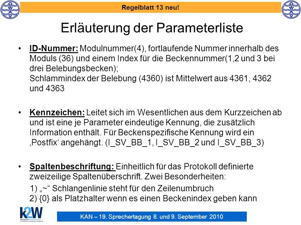 Erläuterung der Parameterliste