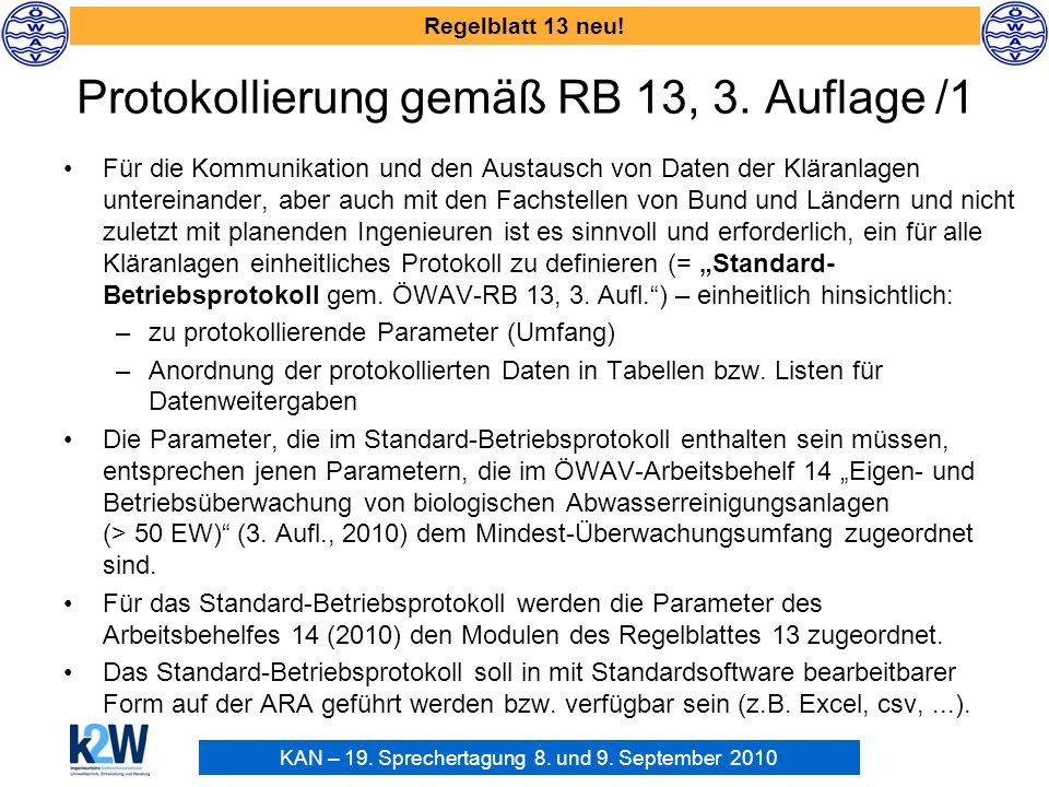Protokollierung gemäß RB 13, 3. Auflage /1
