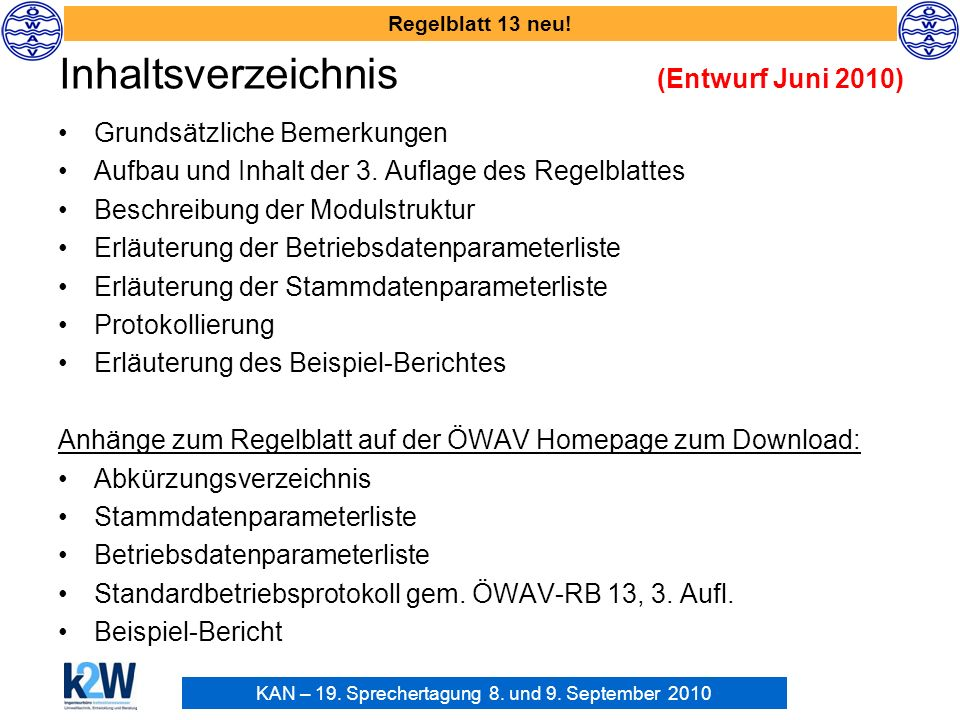 Inhaltsverzeichnis (Entwurf Juni 2010)