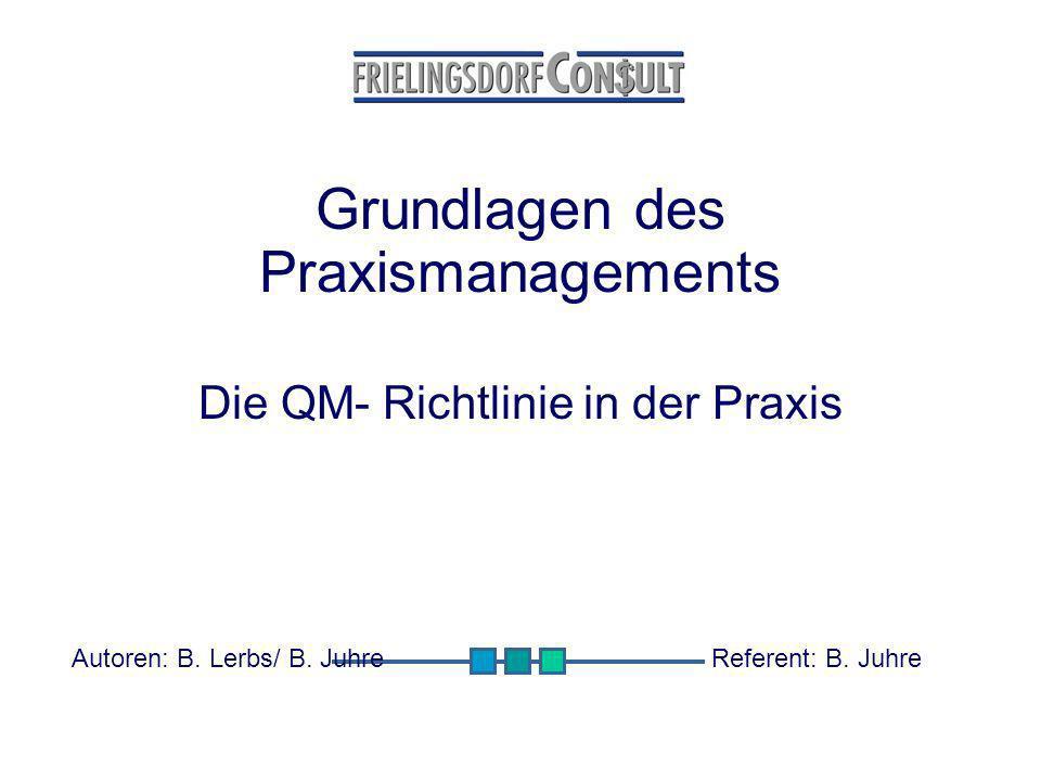 Grundlagen des Praxismanagements Die QM- Richtlinie in der Praxis