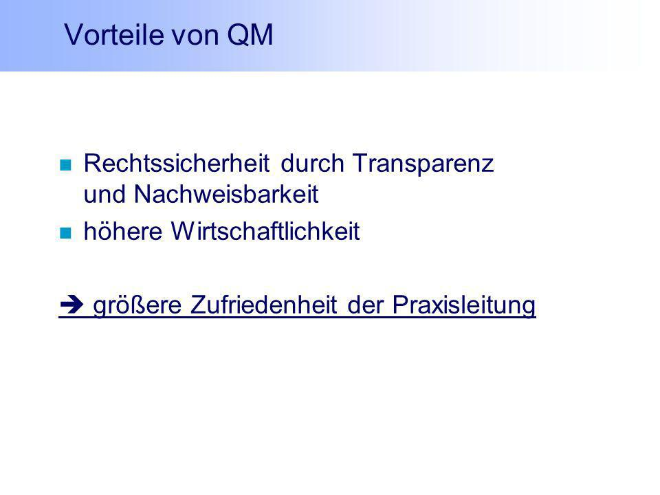 Vorteile von QM Rechtssicherheit durch Transparenz und Nachweisbarkeit
