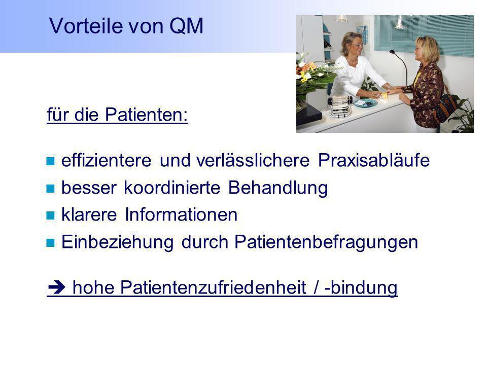 Vorteile von QM für die Patienten: