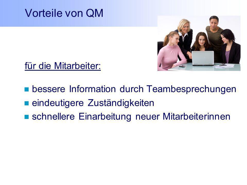 Vorteile von QM für die Mitarbeiter: