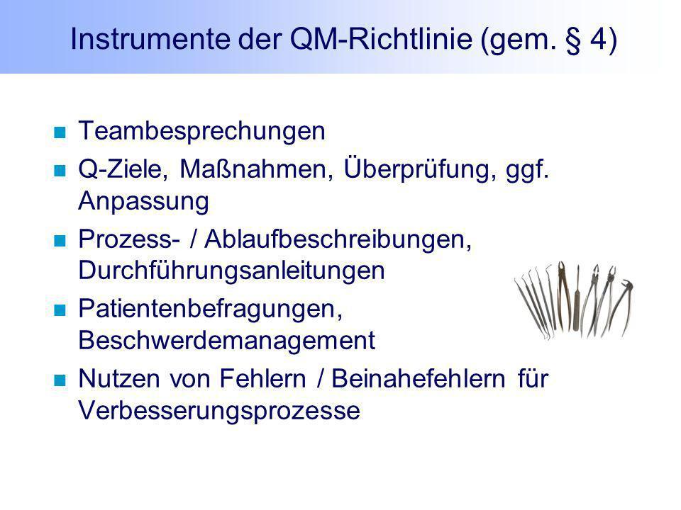 Instrumente der QM-Richtlinie (gem. § 4)