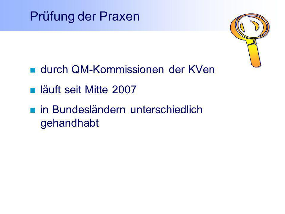 Prüfung der Praxen durch QM-Kommissionen der KVen