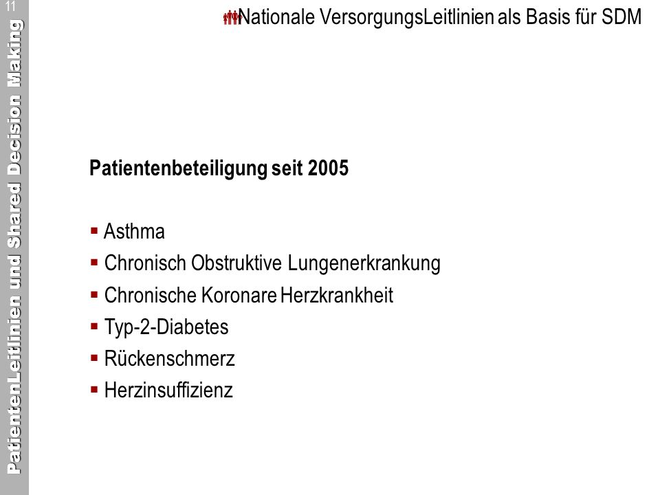 Nationale VersorgungsLeitlinien als Basis für SDM