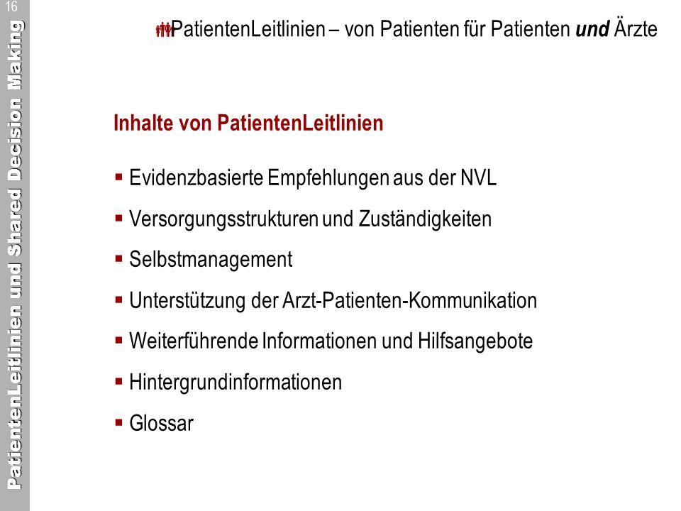 PatientenLeitlinien – von Patienten für Patienten und Ärzte