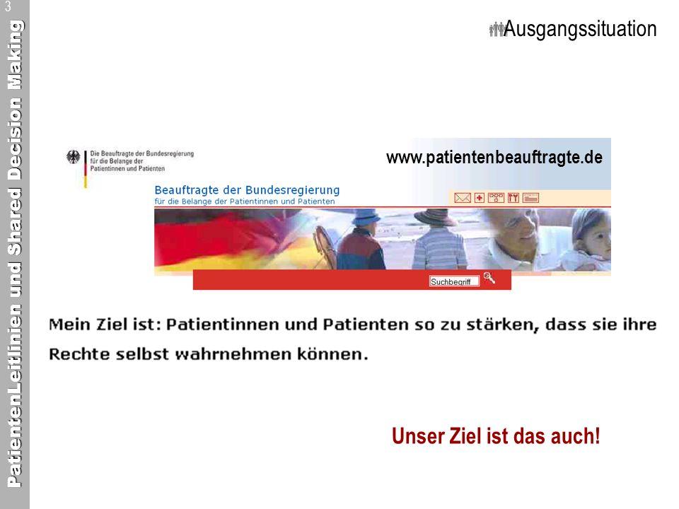 Ausgangssituation www.patientenbeauftragte.de Unser Ziel ist das auch!