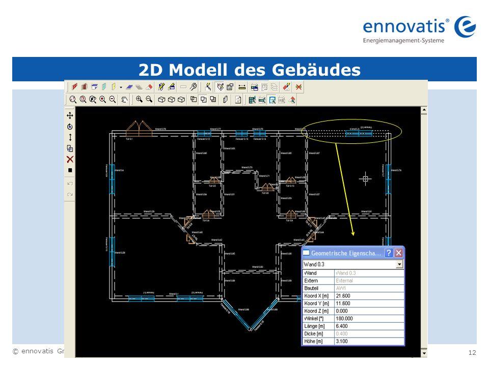 2D Modell des Gebäudes drei Möglichkeiten: tabellarische Eingabe