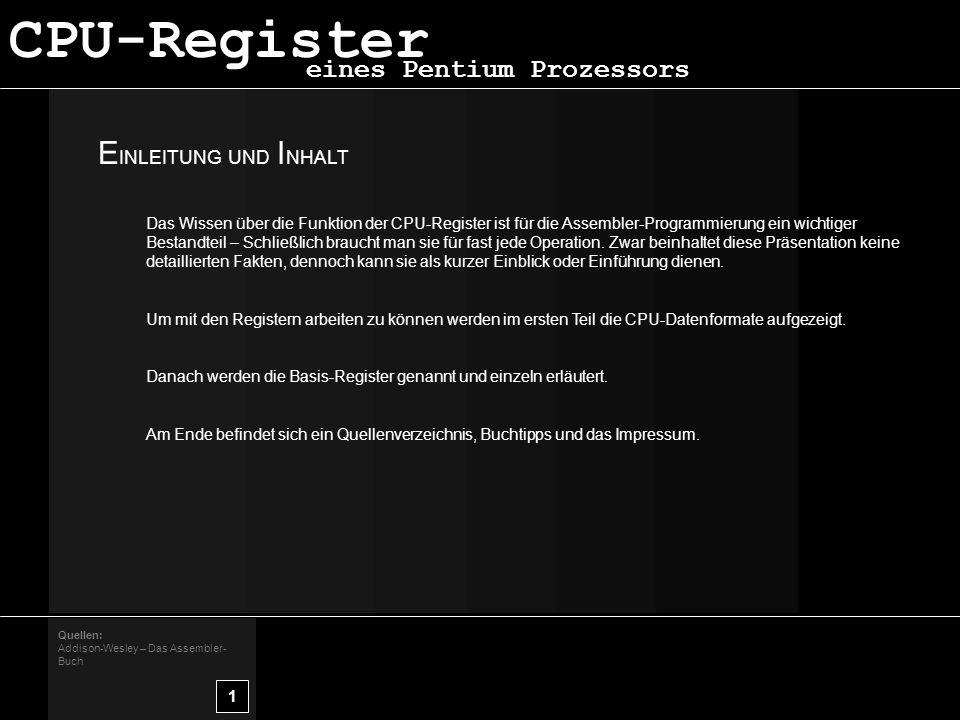CPU-Register EINLEITUNG UND INHALT eines Pentium Prozessors