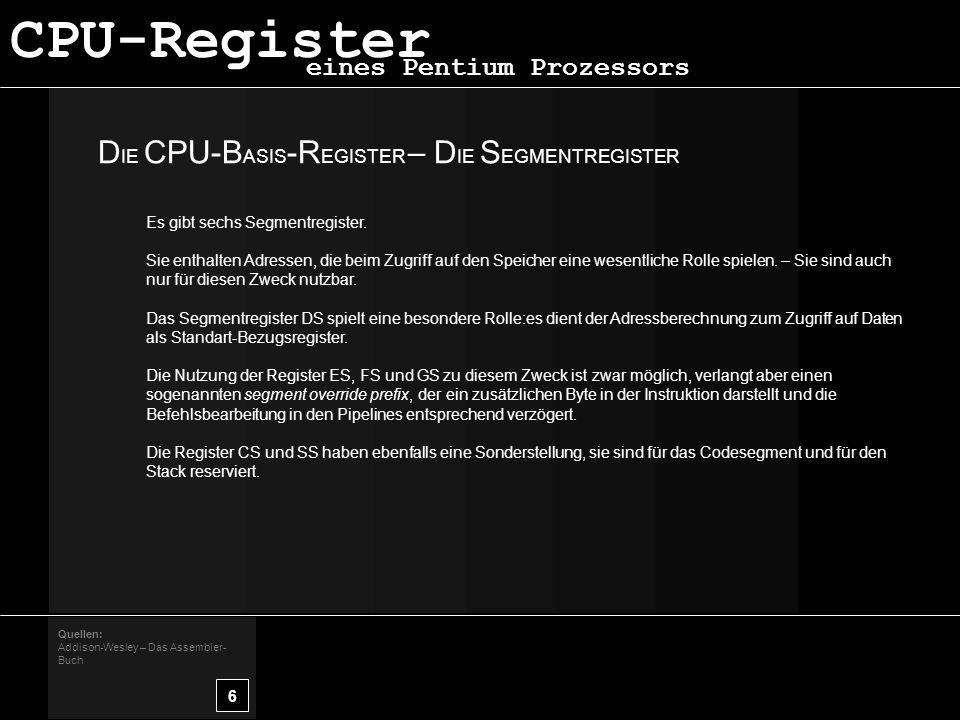 CPU-Register DIE CPU-BASIS-REGISTER – DIE SEGMENTREGISTER