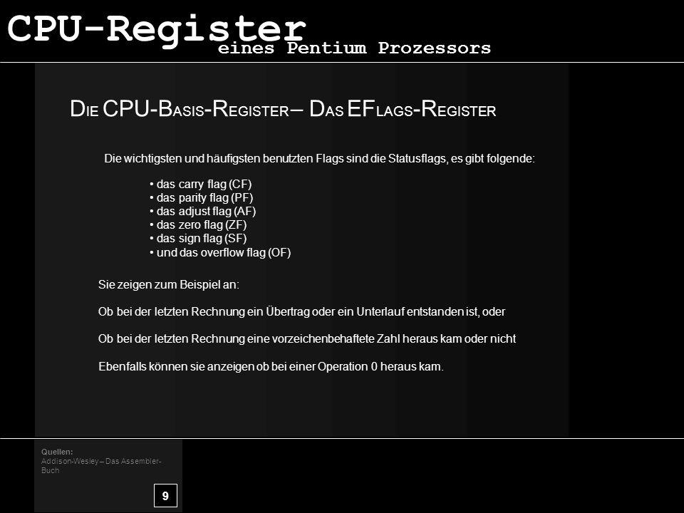 CPU-Register DIE CPU-BASIS-REGISTER – DAS EFLAGS-REGISTER