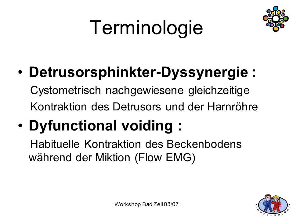 Terminologie Detrusorsphinkter-Dyssynergie : Dyfunctional voiding :