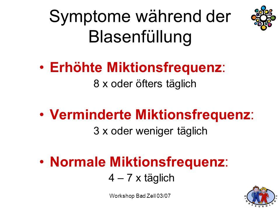 Symptome während der Blasenfüllung