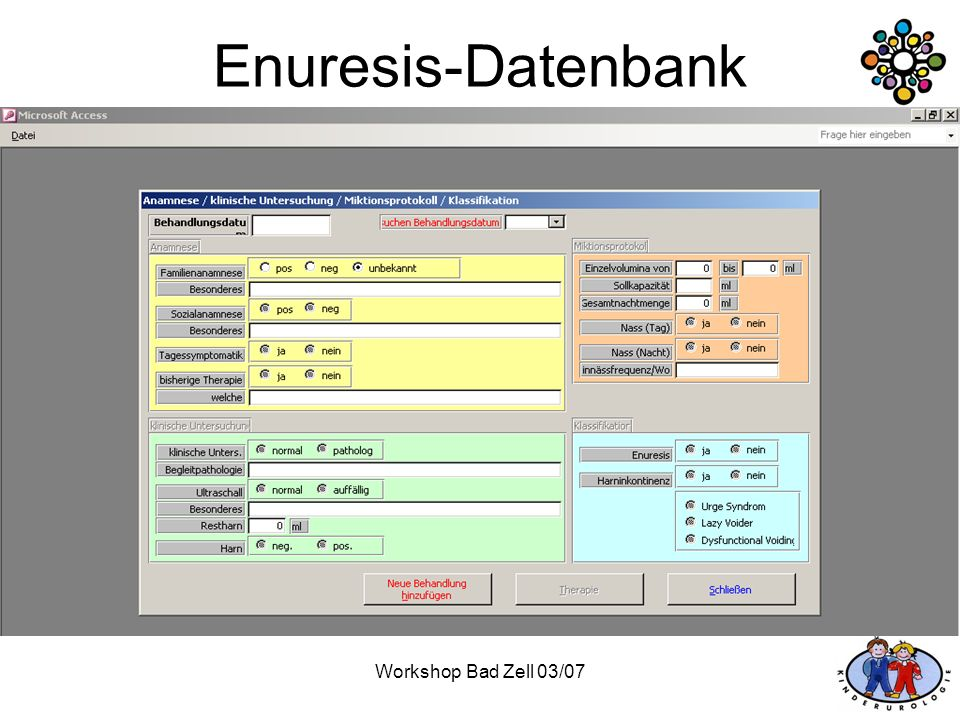 Enuresis-Datenbank Workshop Bad Zell 03/07