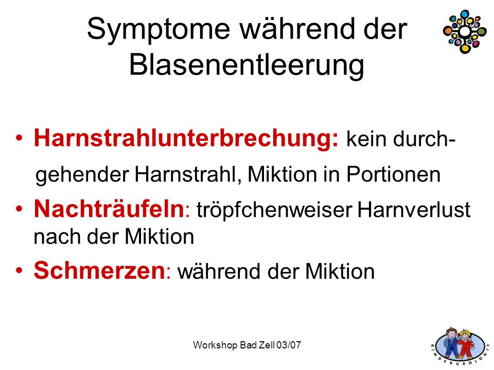 Symptome während der Blasenentleerung