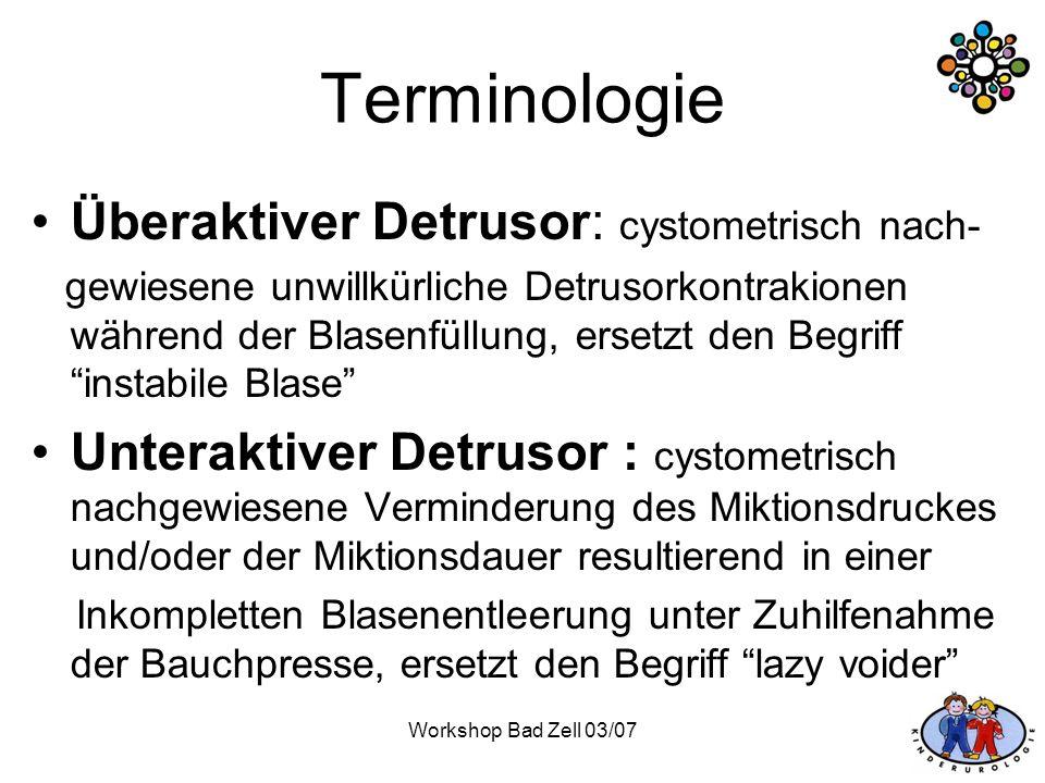 Terminologie Überaktiver Detrusor: cystometrisch nach-