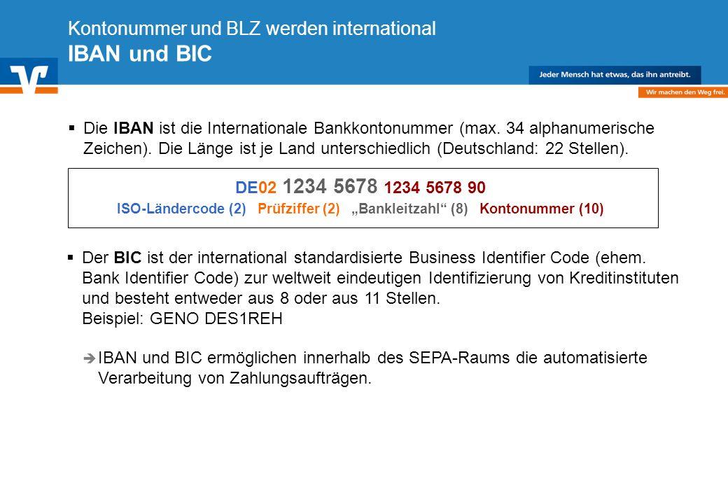 Kontonummer und BLZ werden international IBAN und BIC