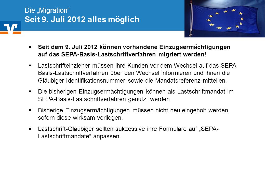 """Die """"Migration Seit 9. Juli 2012 alles möglich"""