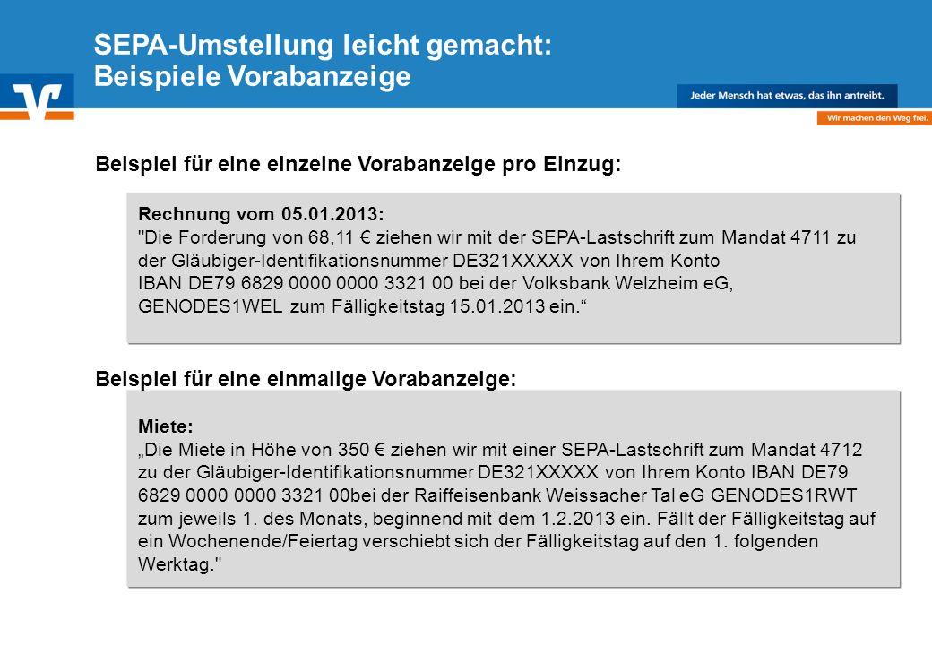 SEPA-Umstellung leicht gemacht: Beispiele Vorabanzeige