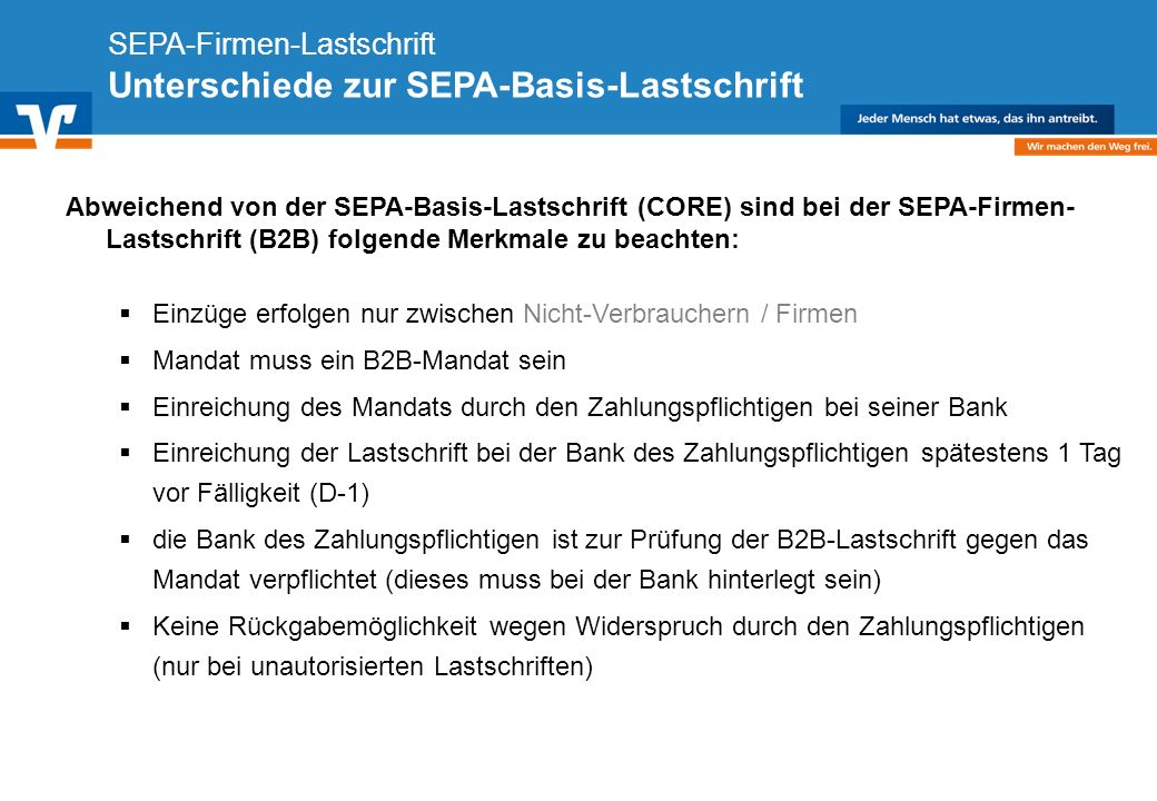 SEPA-Firmen-Lastschrift Unterschiede zur SEPA-Basis-Lastschrift