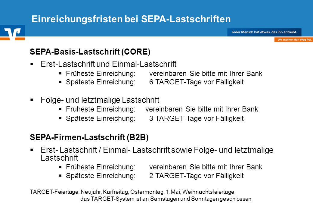Einreichungsfristen bei SEPA-Lastschriften