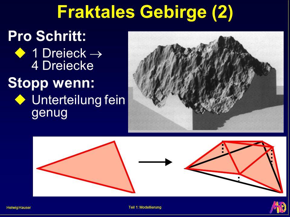 Fraktales Gebirge (2) Pro Schritt: Stopp wenn: 1 Dreieck  4 Dreiecke