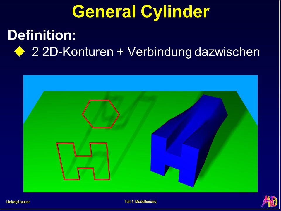 General Cylinder Definition: 2 2D-Konturen + Verbindung dazwischen