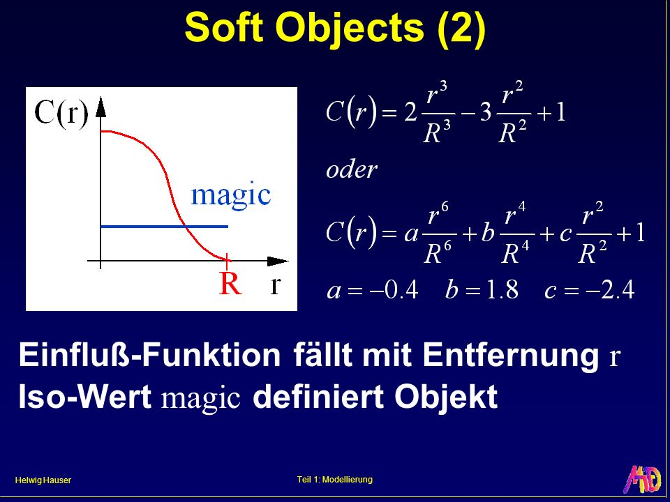 Soft Objects (2) Einfluß-Funktion fällt mit Entfernung r