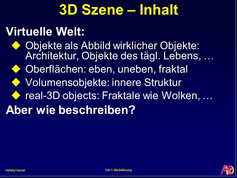 3D Szene – Inhalt Virtuelle Welt: Aber wie beschreiben