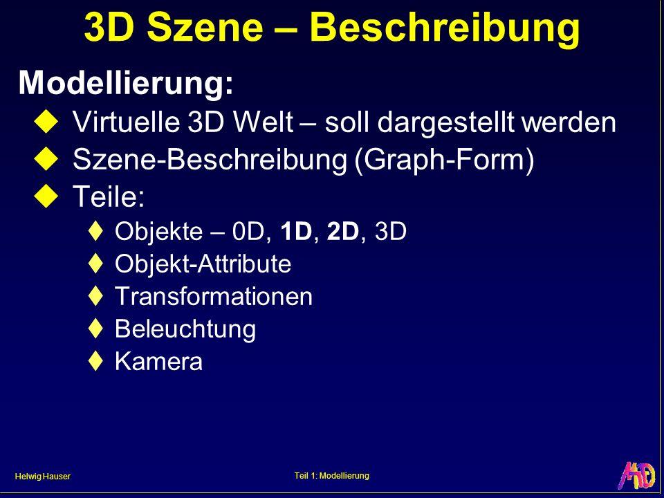 3D Szene – Beschreibung Modellierung: