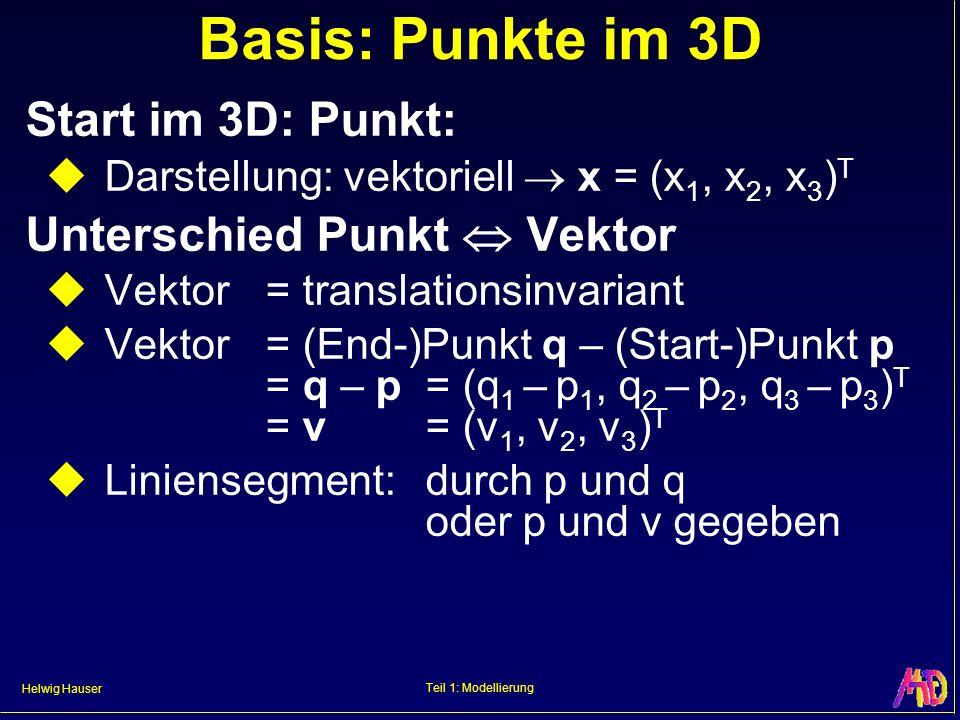 Basis: Punkte im 3D Start im 3D: Punkt: Unterschied Punkt  Vektor