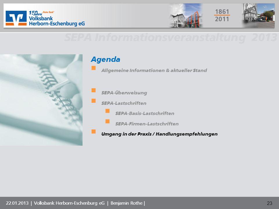 Agenda Allgemeine Informationen & aktueller Stand SEPA-Überweisung