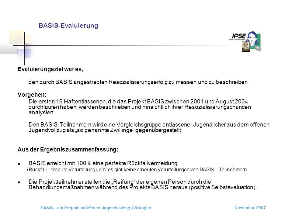 BASIS-Evaluierung Evaluierungsziel war es, Vorgehen: