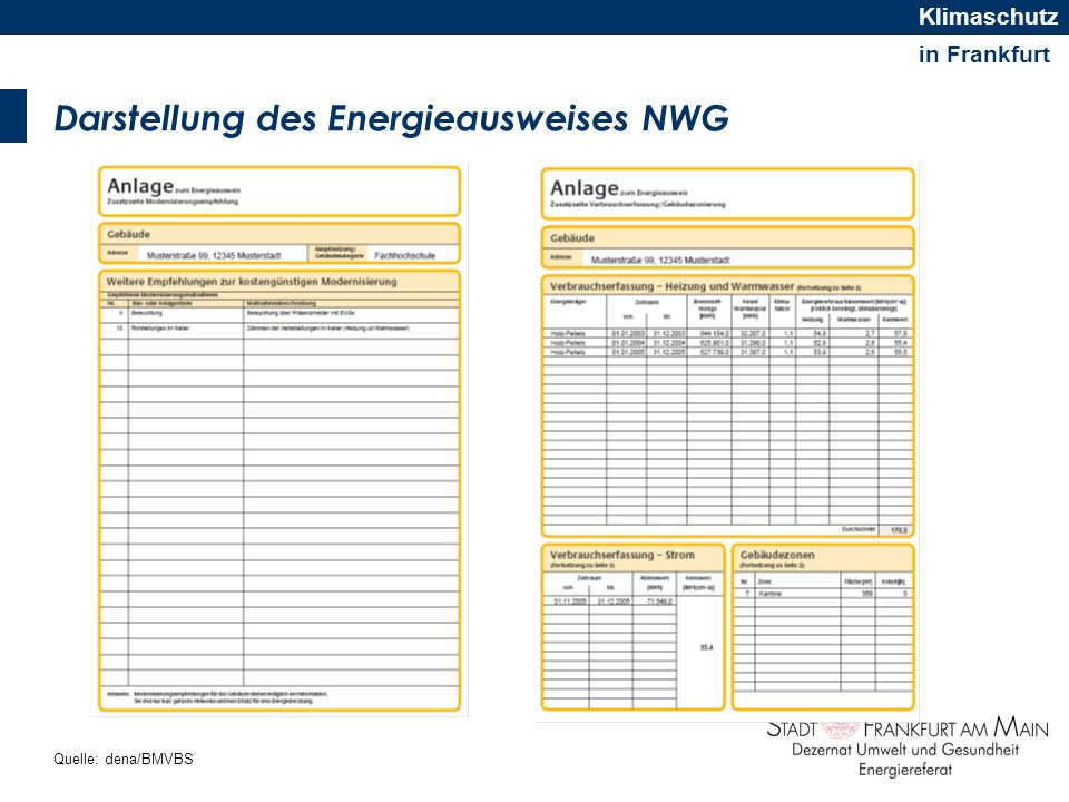 Darstellung des Energieausweises NWG