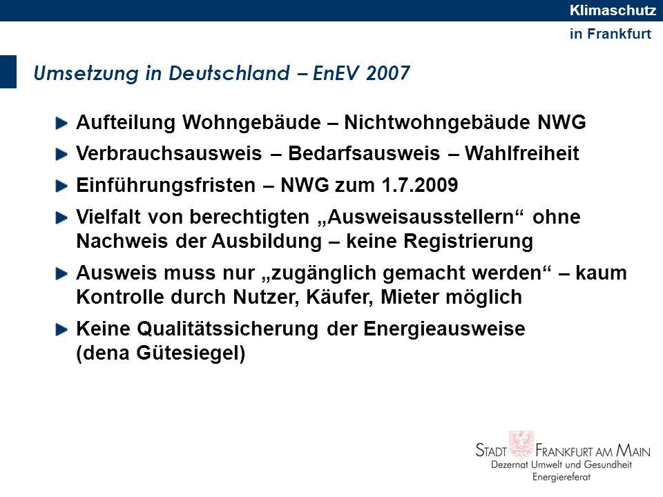 Umsetzung in Deutschland – EnEV 2007