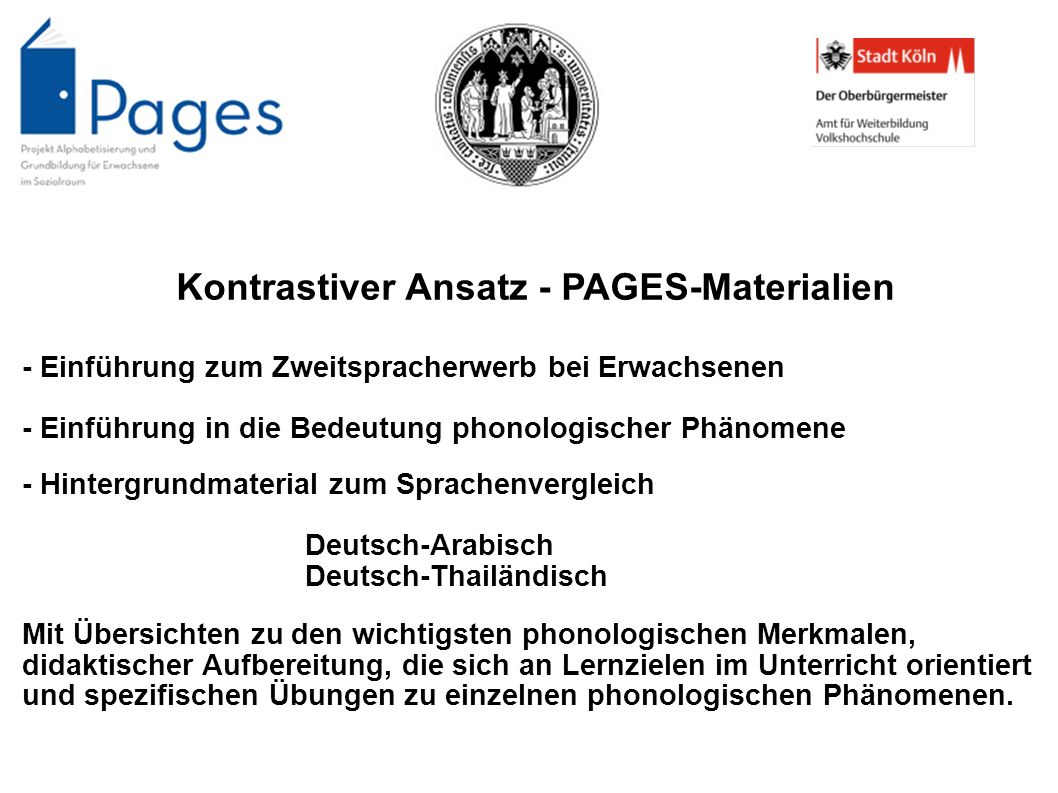 Kontrastiver Ansatz - PAGES-Materialien