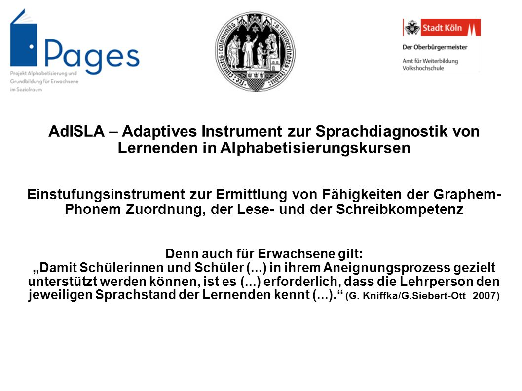AdISLA – Adaptives Instrument zur Sprachdiagnostik von