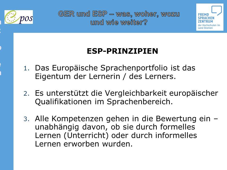 ESP-Prinzipien ESP-PRINZIPIEN. Das Europäische Sprachenportfolio ist das Eigentum der Lernerin / des Lerners.