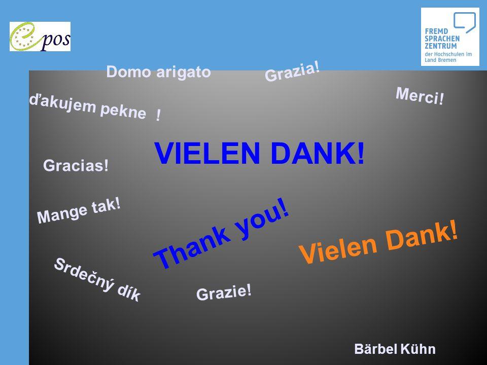 VIELEN DANK! Thank you! Vielen Dank! Grazia! Domo arigato Merci!