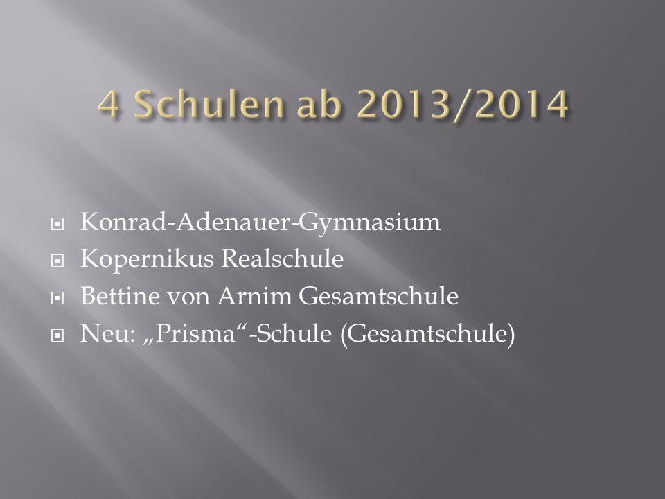 4 Schulen ab 2013/2014 Konrad-Adenauer-Gymnasium Kopernikus Realschule